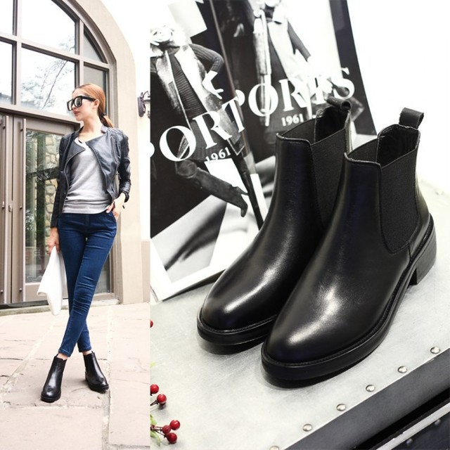 e26d845026293 New Brand British Style 2015 Women Genuine Leather Boots Casual Flat Martin  Black Booties Female Chunky Boots De Mujer AL769