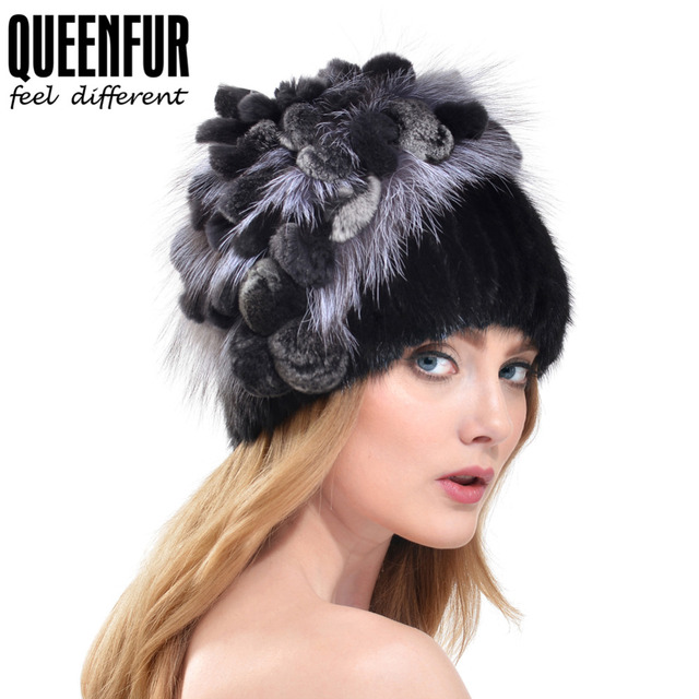 QUEENFUR 2016 Winter Knitted Mink Fur Hat With Rex Rabbit Fur Flower Top Free Size Casual Beanies Silver Fox Fur Hat For Women