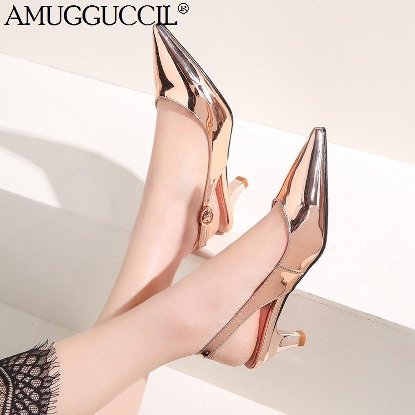 2019 nouveau Plus grande taille 31-45 Champagne-or argent véritable cuir véritable mode Sexy mi-talon femme femmes chaussures pompe D1243