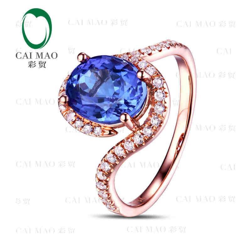 CaiMao 18KT/750 розовое золото 2,12 ct натуральный если Синий танзанит AAA 0,29 ct полный огранки обручение Драгоценное кольцо ювелирные изделия