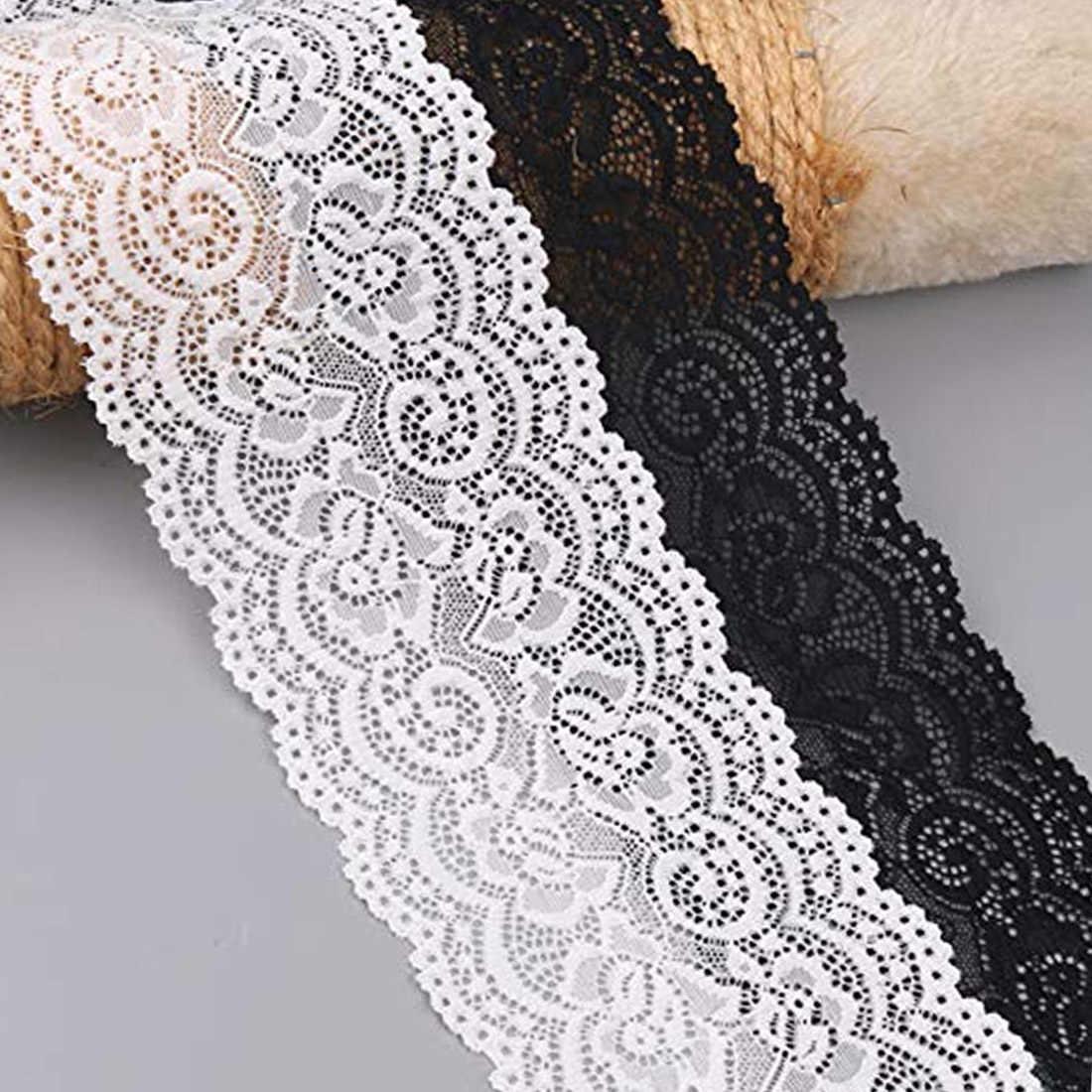 10cm genişliğinde güzel beyaz streç dantel şerit bant dantel Trim DIY için işlemeli dikiş dekorasyon afrika dantel kumaş