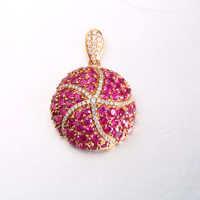 Round Ruby and Diamond Pendants 18K Rose Gold Luxury Gemstone Fine Jewelry Women's Pendant Necklace without Chain