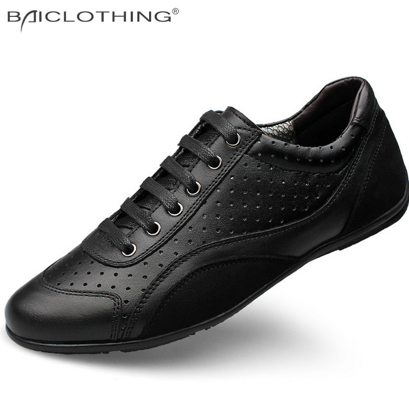 ФОТО Plus Size 36-48 Fashion Men Shoes 2016 Summer Style Genuine Leather Hollow Out Breathable Flat Shoes Comfortable Oxfords Outdoor