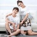 Новый Весной и Летом Пара Пижамы Наборы хлопка Плюс XL Ночное Цветочные Пижамы женские пижамы Повседневная Мужчины Пижамы