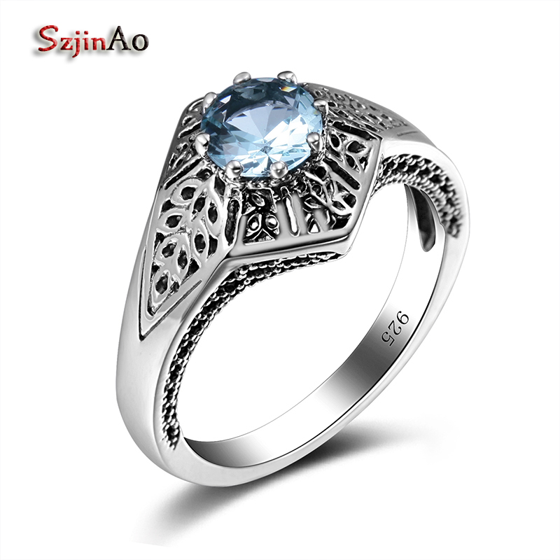 Szjinao Charms Star Ring Blue Aquamarine Pure 925 Sterling Silver Rings For Women Vintage Jewelry Wholesale Rustic Wedding