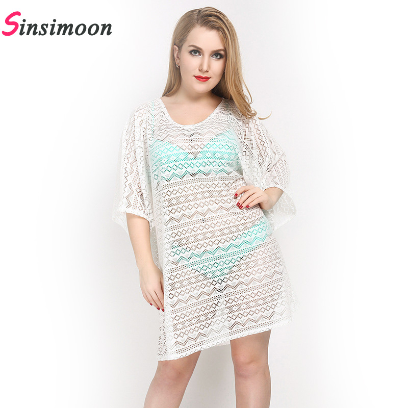 2019 Solid Women Cover up Crochet Loose plavky One piece Swimsuit Female Sexy Beach halenka Duté out pletení Cover-up