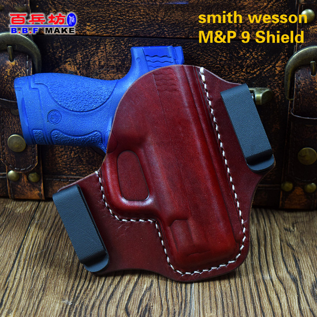 US $59 9 |B B F Make Gun Holster Leather Fits: Smith & Wesson M&P Shield  9MM/ 40 S&W Manusl Sewing Pistol Waist Hanging Holsters Cowhide -in  Holsters