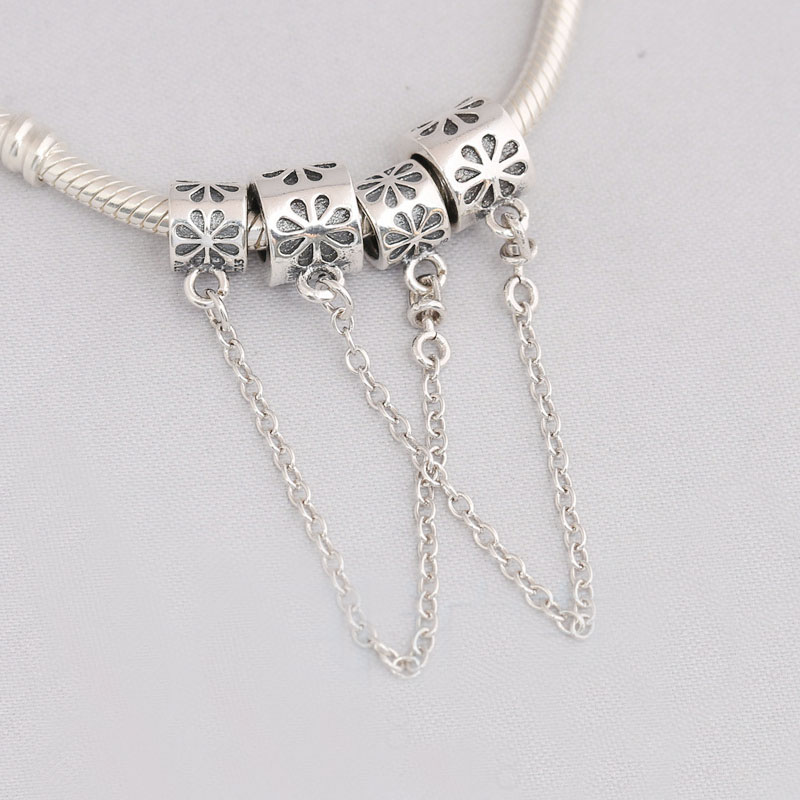 Daisy Flower Safety Chain Stopper Beads Fit Pandora Charms Silver 925 Original Bracelets DIY Charm Beads for Jewelry Making