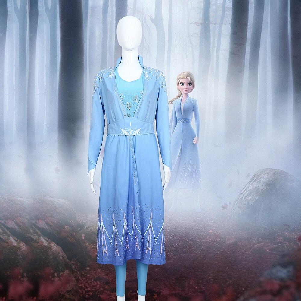 Nouveau femmes Cosplay neige grandir Elsa robe Costume Halloween Cosplay Elsa Anna Costume princesse glace reine Elsa manteau tenue ensemble complet
