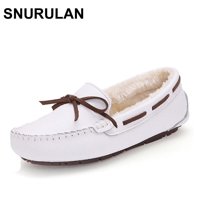 SNURULAN  New Cow Leather Women Shoes Keep Warm Moccasins Shoes Woman Slip On Female Flats Fur Loafers Plush Winter Boat Shoe jingkubu 2017 autumn winter women ballet flats simple sewing warm fur comfort cotton shoes woman loafers slip on size 35 40 w329