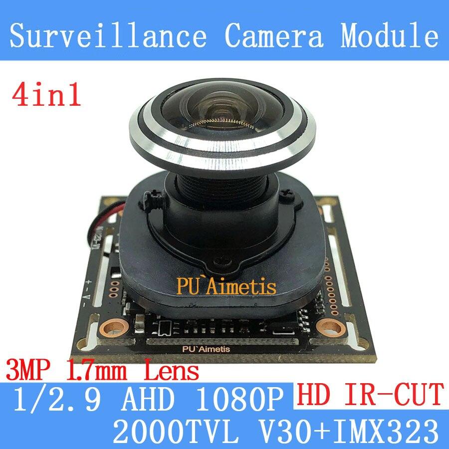 PU`Aimetis 2MP 1920*1080P AHD 4in1 CCTV Camera Module 1/2.7 V30+IMX323 2000TVL 1.7mm wide-angle 170 degrees surveillance camera pu aimetis 4in1 2mp 1920 1080 ahd cctv 1080p mini night vision camera module 1 2 7 2000tvl 3mp 6mm lens ahd surveillance camera