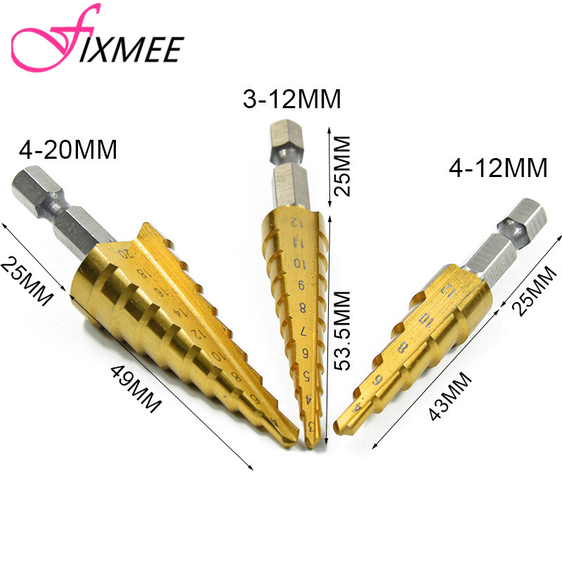 3pcs HSS Titanium Coated Step Drill Bit for Metal 3-12mm 4-12mm 4-20mm High Speed Steel Wood Drilling Power Tools S step drill bits with titanium nitride coating free shipping high speed steel 6542 m2 pagoda drill ladder drill for holes 4 20mm
