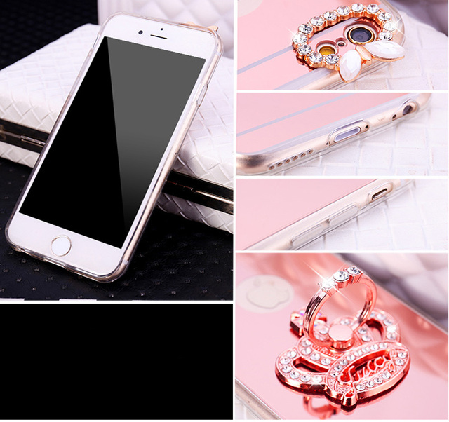 Lovely Heart Red Crown Finger Ring Soft Mirror Case For Apple iPhone 11 Pro XS MAX XR X 8 7 6 6S Plus 5 5S SE Cover Case Shell