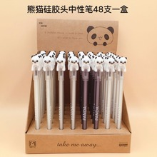 48pcs/pack cartoon panda gel pen 0.5mm black ink water office school creative stationery