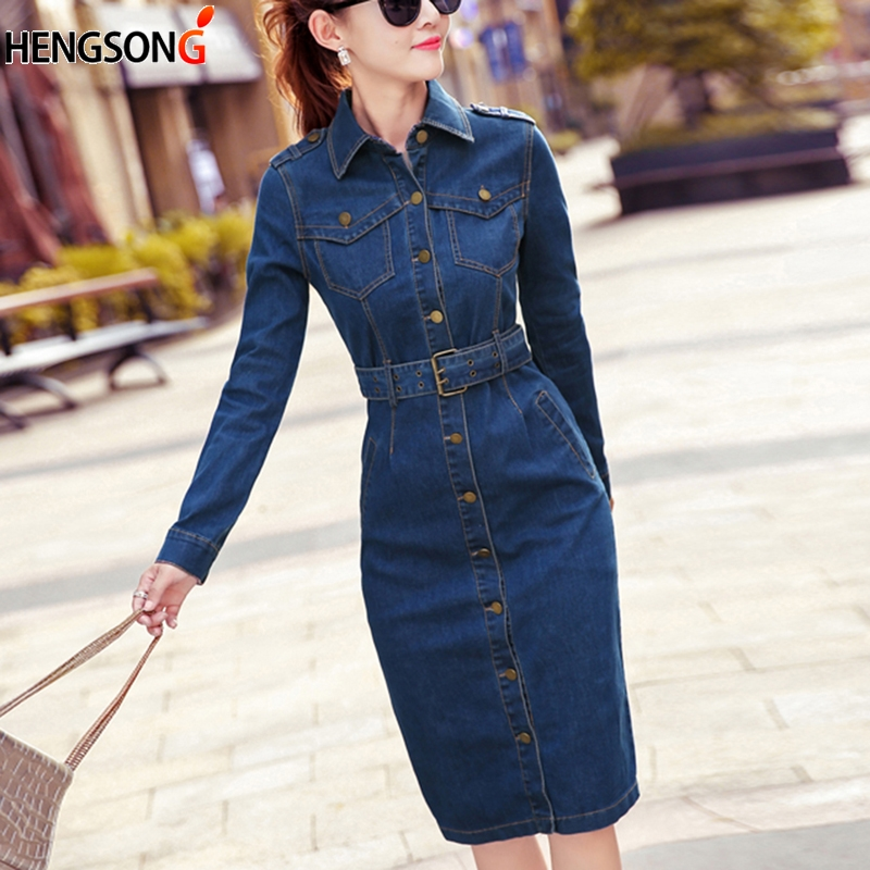 Belt Jeans Dress Women Long Cowboy Denim Dress Ladies OL Office Work Dress 2020 New Spring Bodycon Dress Vestido Jeans Dresses