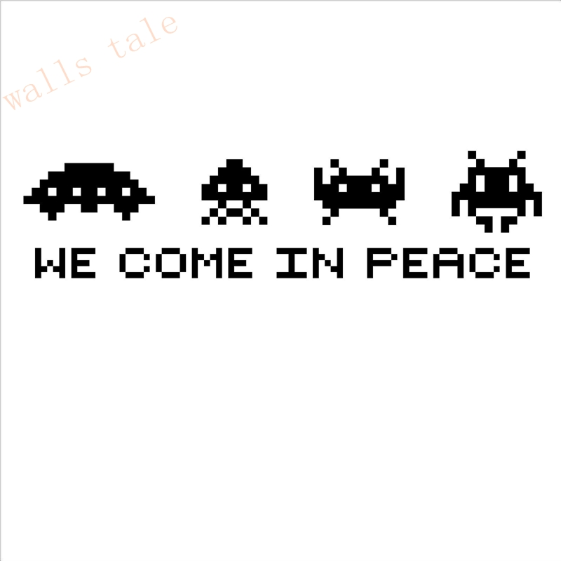 Space invaders wall art we come in peace retro vinyl wall decal sticker game space invaders play - Space invader wall stickers ...