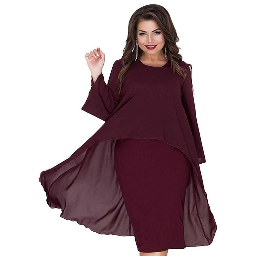 Wisalo женское шифоновое платье большого размера 6XL из двух частей с круглым вырезом и длинным рукавом, облегающее однотонное платье для офиса, весеннее платье Vestidos