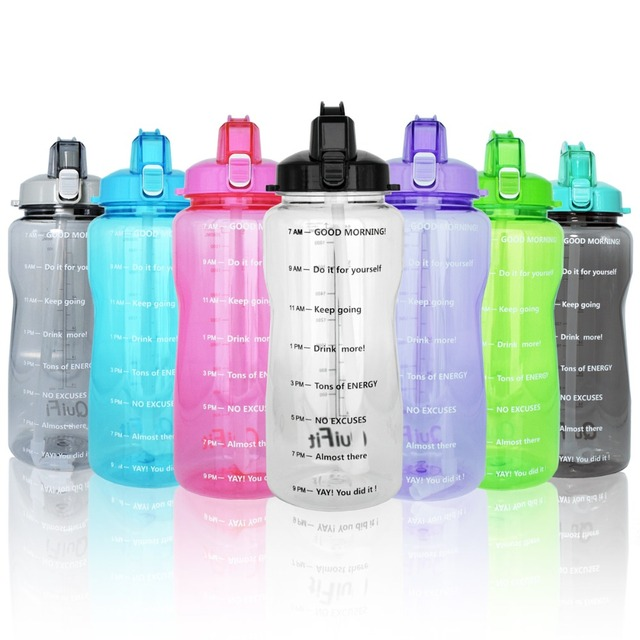 Water Bottle With Drinking Straw QuiFit Portable Sport Water Jug With Time Marked