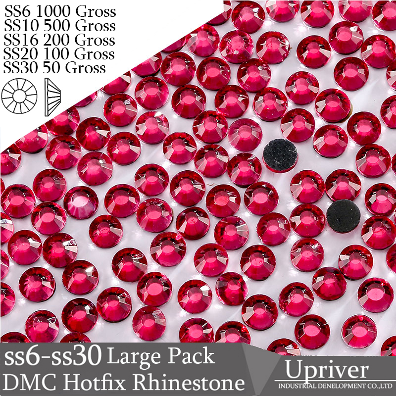 Upriver Wholesale Large Pack Bulk Packing ss6 - ss50 High Quality Shiny Stones Fuchsia Hotfix Rhinestones For Dress Garment Bag