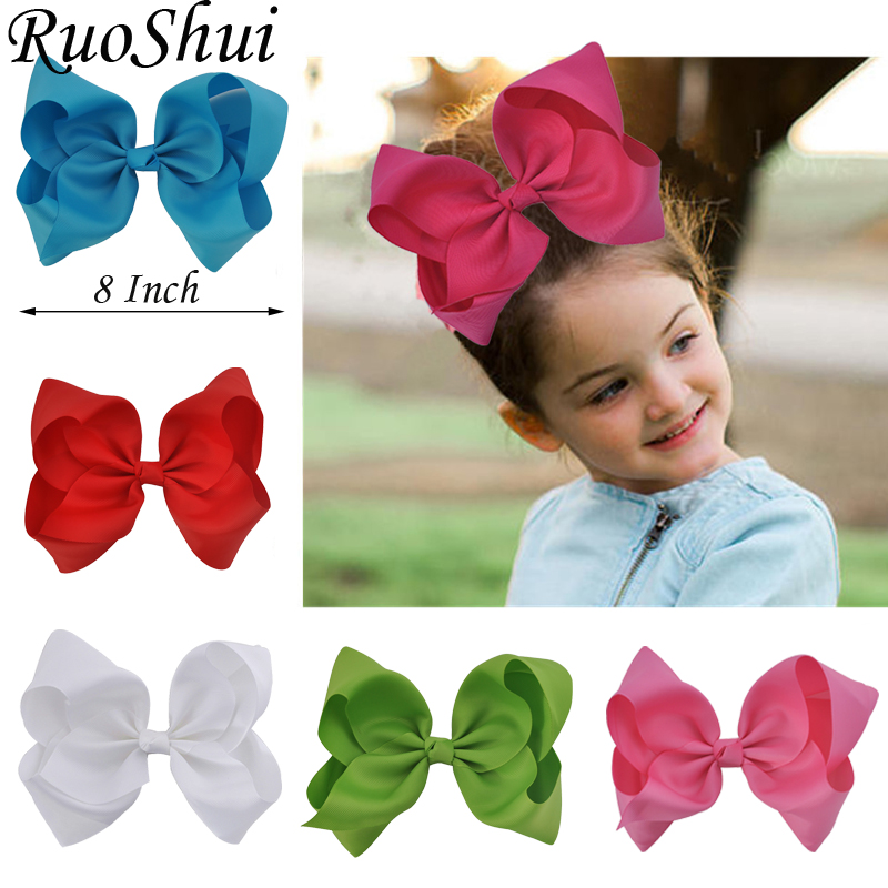 8 inch Large Hair Accessories Solid Grosgrain Ribbon Hairgrips Hair Clips   Headwear   Barrette Bowknot Hair Bows For Women Girls