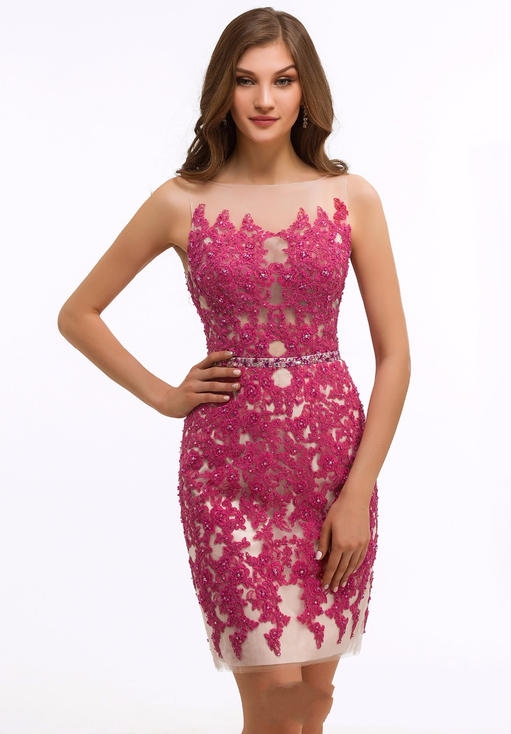 2017 New Sexy Fuchsia Nude Short Cocktail Party Dresses Sleeves ...