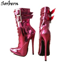 Sorbern Buckle Solid Pointed Toe Ankle Boots Cross-Tied Zipper 18Cm Small Heels Spring Fashion Shoes Women Designers Boots