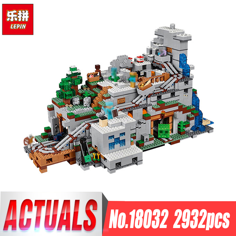 LEPIN 18032 Model Building Kit Blocks Bricks Miniecraft 2932pcs The Mountain Cave My worlds Compatible with legoing 21137 dhl lepin 18032 2932 pcs the mountain cave my worlds model building kit blocks bricks children toys clone21137 in stock