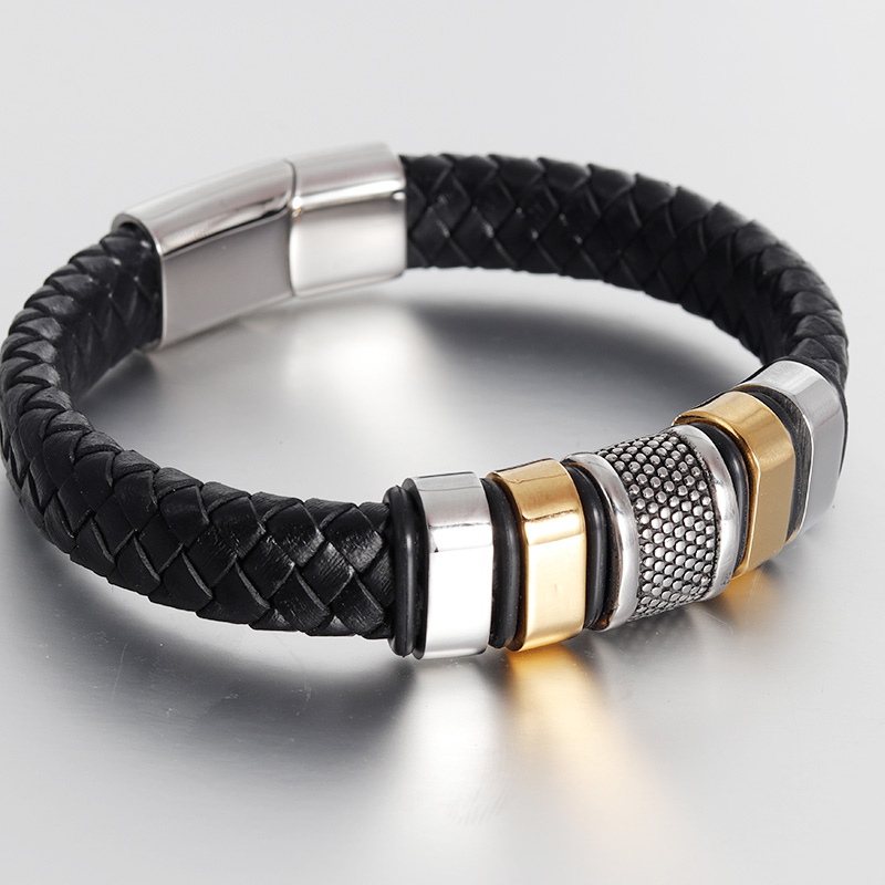 Fashion Stainless Steel Bracelet Men Braid Black Leather Bracelets & Bangles Rope Chain Vintage Jewelry Magnetic Buckle gold Браслет
