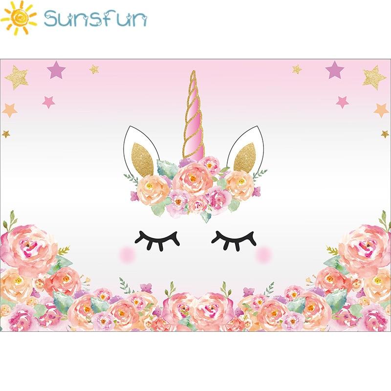 Sunsfun 7x5ft Roze Eenhoorn Fotografieachtergrond Verjaardag Bloem