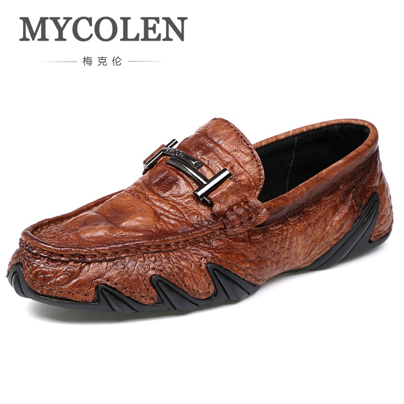 MYCOLEN British Style Men Loafers Fashion Man Shoes Men's Slip On Breathable Hard-Wearing Casual Genuine Leather Shoes Sapato mycolen fashion brand men shoes winter handsome business casual shoes breathable men s leather shoes man derby sapato social