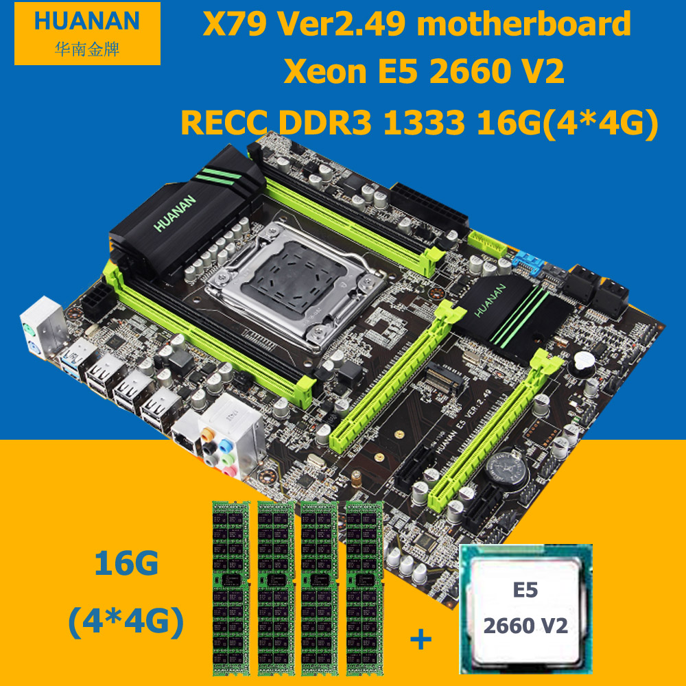 2018 Venta caliente marca HUANAN ZHI X79 LGA2011 Placa base con M.2 ranura CPU Xeon E5 2660 V2 SR1AB 2,2 GHz RAM 16g (4*4g) DDR3 REG ECC