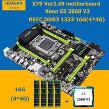 цена на HUANAN X79 motherboard CPU RAM combos Intel Xeon E5 2660 V2(10 cores/20 threads) LGA 2011 memory (4*4G)16G DDR3 REG ECC