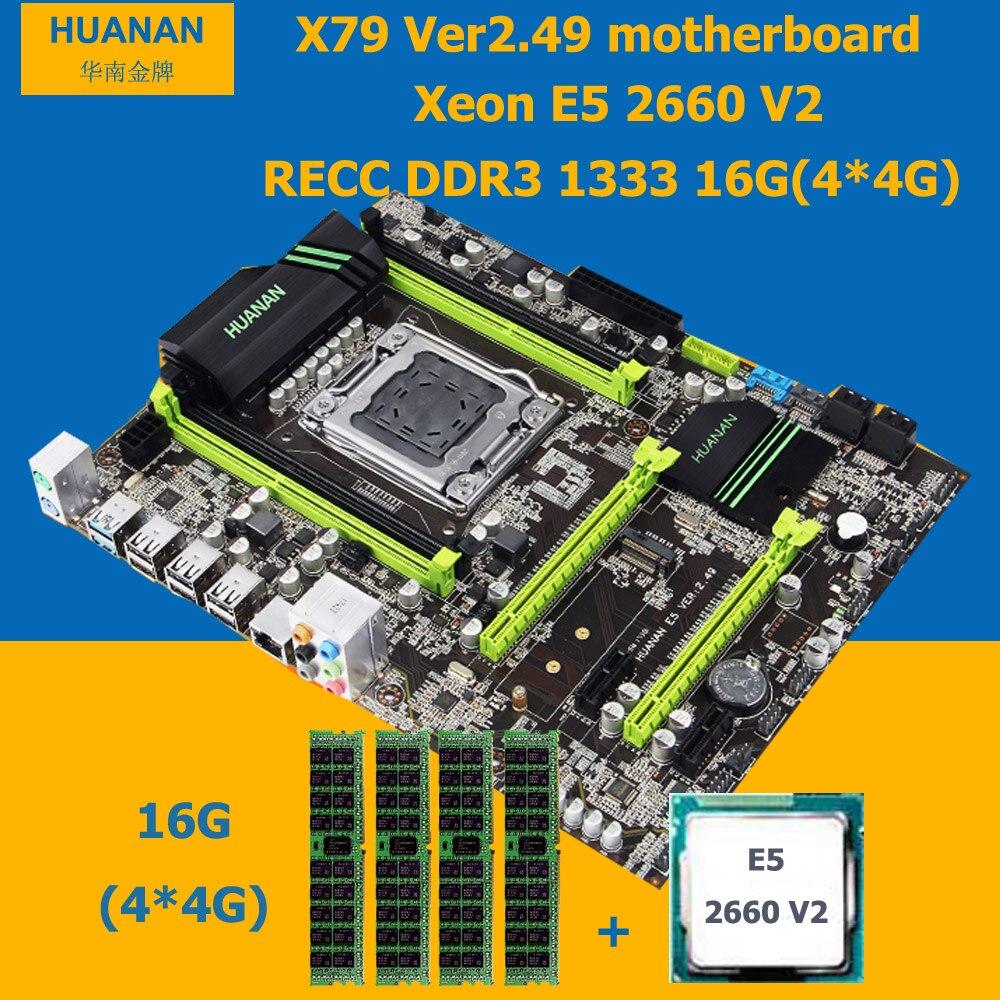 Bâtiment idéal ordinateur HUANAN ZHI X79 carte mère avec M.2 port CPU Xeon E5 2660 V2 SR1AB RAM 16G (4*4G) DDR3 serveur mémoire