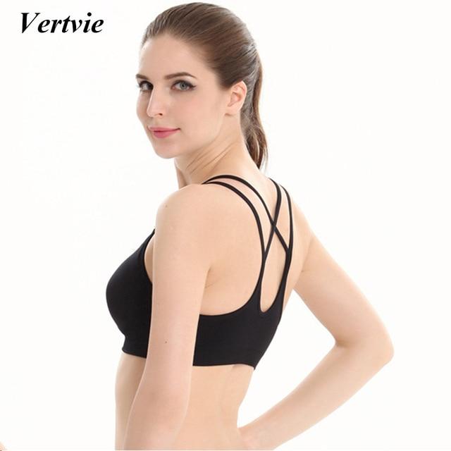 e07a91f2784e6 Vertvie Women Professional Sport Bra Top Fitness Gym Women Sexy Cross Strappy  Vest Push Up Shockproof Padded Fitness Workout Bra
