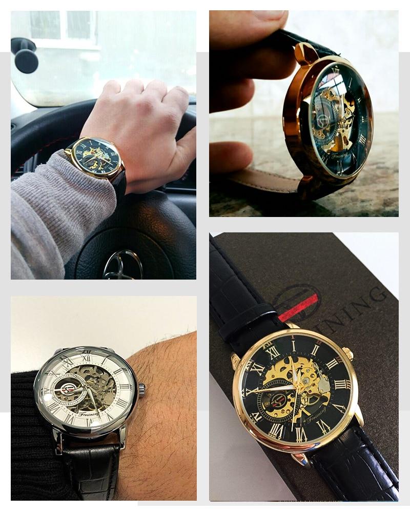 HTB1 e5JAmtYBeNjSspkq6zU8VXaH Forsining Men Watches Top Brand Luxury Mechanical Skeleton Watch Black Golden 3D Literal Design Roman Number Black Dial Clock