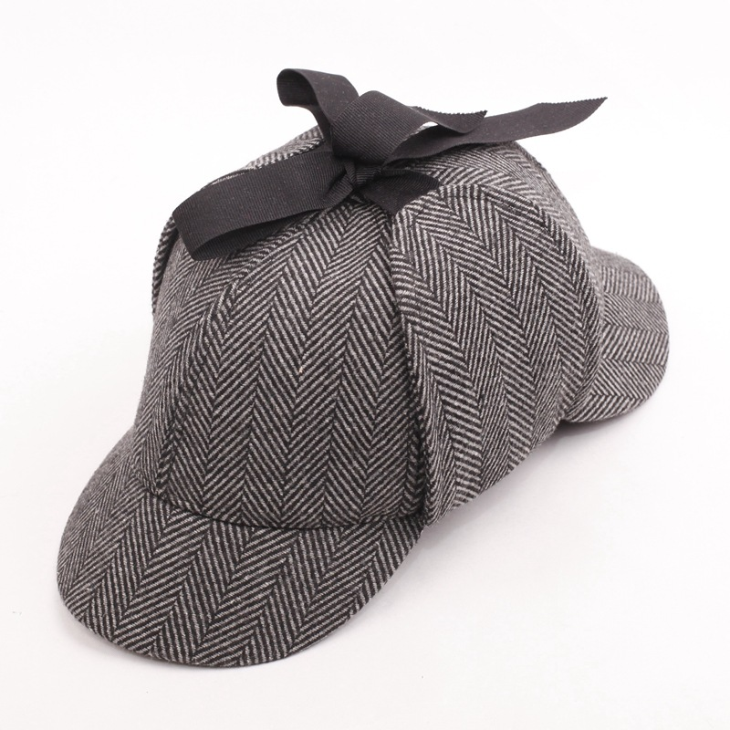 SHOWERSMILE Sherlock Holmes Hat Unisex Winter Wool Berets For Men - Kläder tillbehör - Foto 3