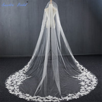 Sapphire Bridal 2019 New Luxury Top End High Quality Wedding Veil Ivory Cathedral Length Lace Edge Bridal Veils Velo De Novia