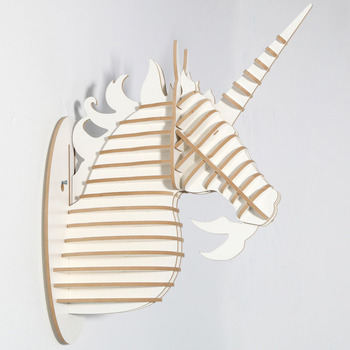 48cm Wood Unicorn Fairy Tale Animal Head White Unicorn In Myth Bible Wood Furniture for Home Decoration Wall Hanging Sculpture