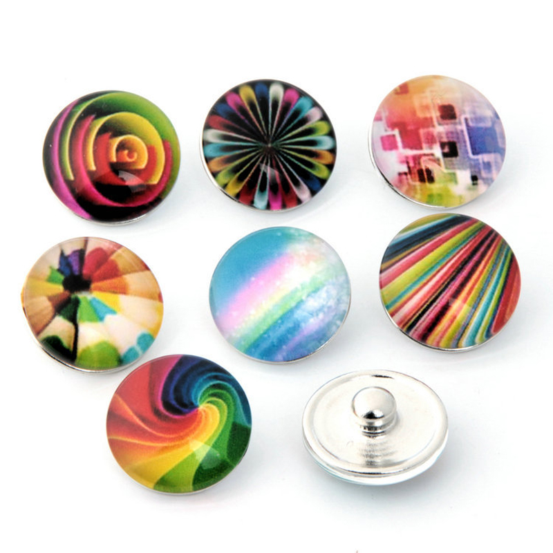 10pcs/lot Rainbow Colorful Snap Button Fit 18mm Interchangeable Snap DIY Bracelets & Bangles Charms Jewelry Glass Silver Metal