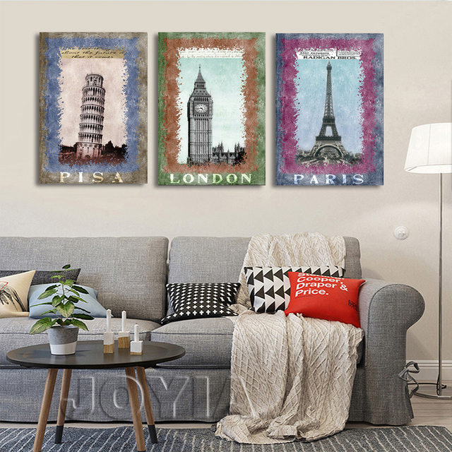 Vintage Wall Canvas Painting World Tower City Art Canvas Home Decor ...