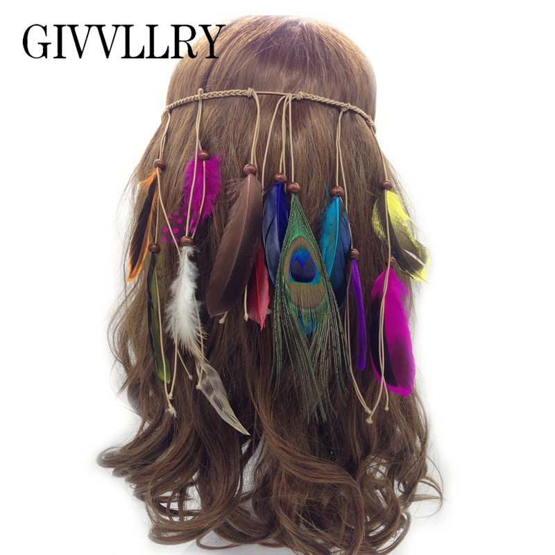 GIVVLLRY Bohemian Weave Headbands Indian Hair Jewelry Ethnic Handmade Wood Bead Long Colorful Feather Wedding Hair Accessories