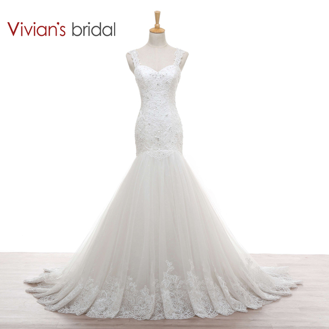 2e6260221fd3d Vivian's Bridal Mermaid Wedding Dress Sweetheart See Through Back Beaded  Crystal Lace Wedding Gown WD920