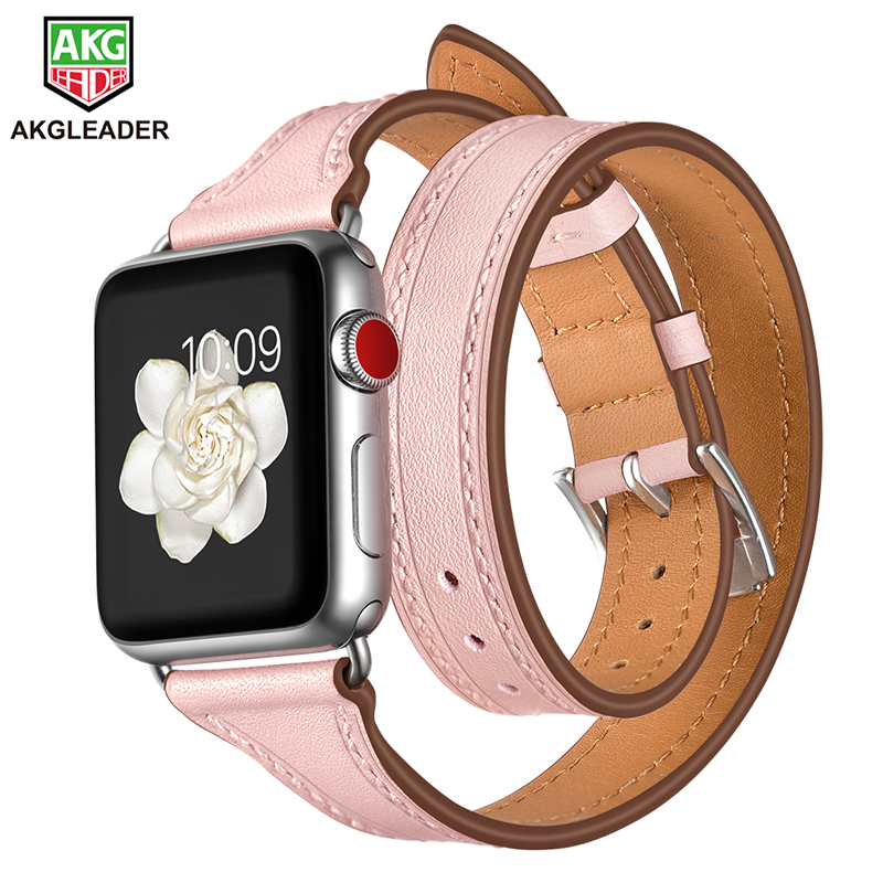 For Apple Watch Leather Strap Newest Slim Strap Double Tour Watch Band For Apple iWatch Series 1 2 3 Women's Watchband 38-42mm new arrival long genuine apple watch band leather watchband strap double tour bracelet for apple watch 38 42mm