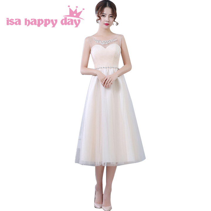 modest romantic champagne lace   bridesmaid     dresses   girls tea length   dress     bridesmaids   ball gown weddings & events H3616