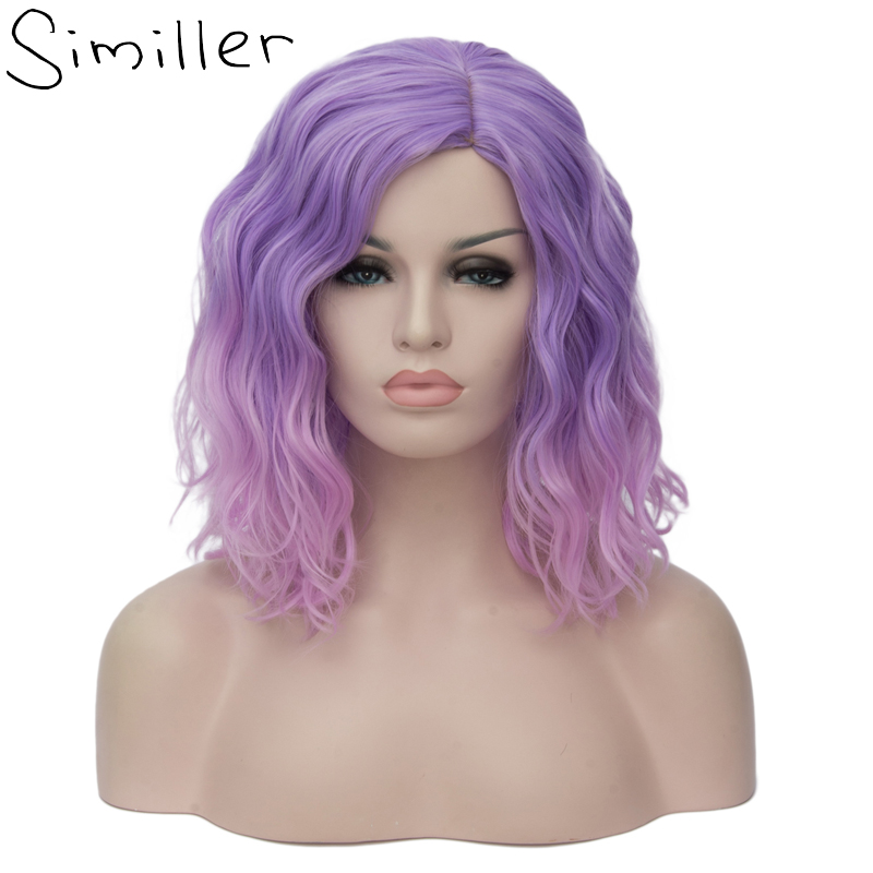 Similler Women Short Bob Fluffy Hair With Bangs Heat Resistant Kinky Straight Costume Cosplay Party Wigs Ombre 2 Tones