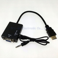 5pcs/lot HDMI to VGA converter adapter cable with audio male to female length 15cm HDMI TO VGA CABLE