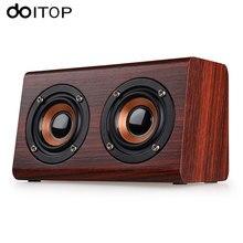 DOITOP Wood W7 Bluetooth Speaker 3D Surround Dual Loudspeakers Stereo HiFi Subwoofer Wireless Speaker Hand-free Call TF Card