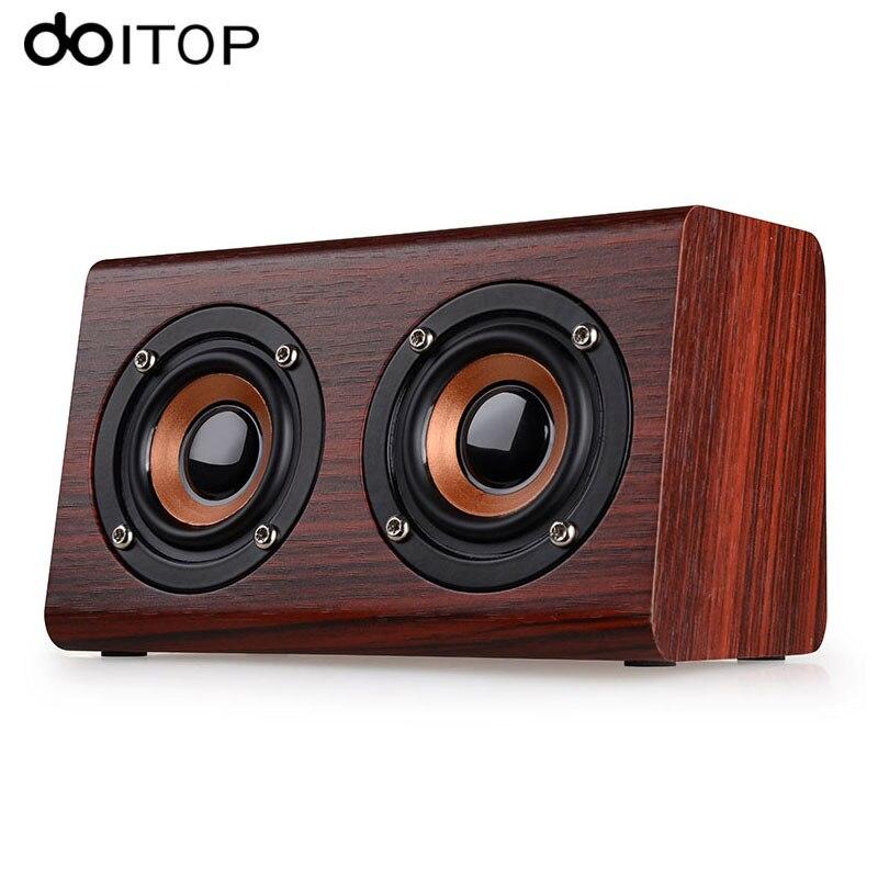 DOITOP Wood W7 Bluetooth Speaker 3D Surround Dual Loudspeakers Stereo HiFi Subwoofer Wireless Speaker Hand Free