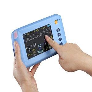 Ручной монитор с шестью измерительными знаками, ЭКГ/NIBP/ Spo2/пульс/температурный монитор, монитор для пациентов с сенсорным экраном