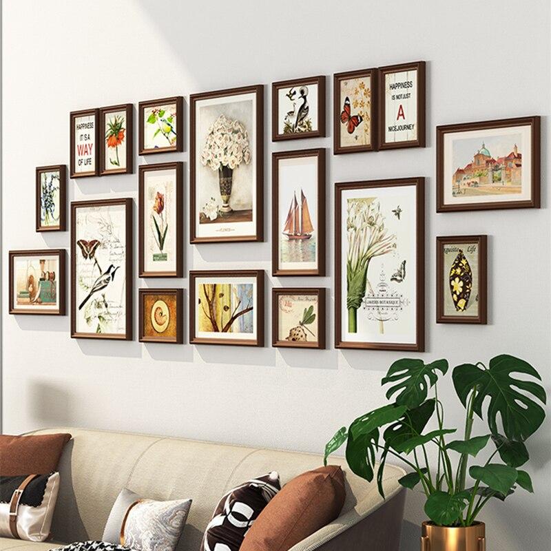 2019 Grande Living Room Decor Wall Hanging Cornici Set 18 pcs Cornici Tuta Casa di Sfondo Foto Combinazione Telaio-in Cornice da Casa e giardino su  Gruppo 1